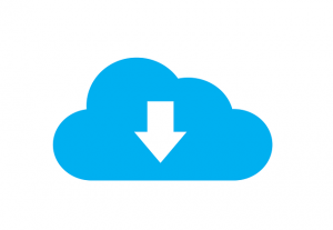 Cloud symbol with a white down arrow