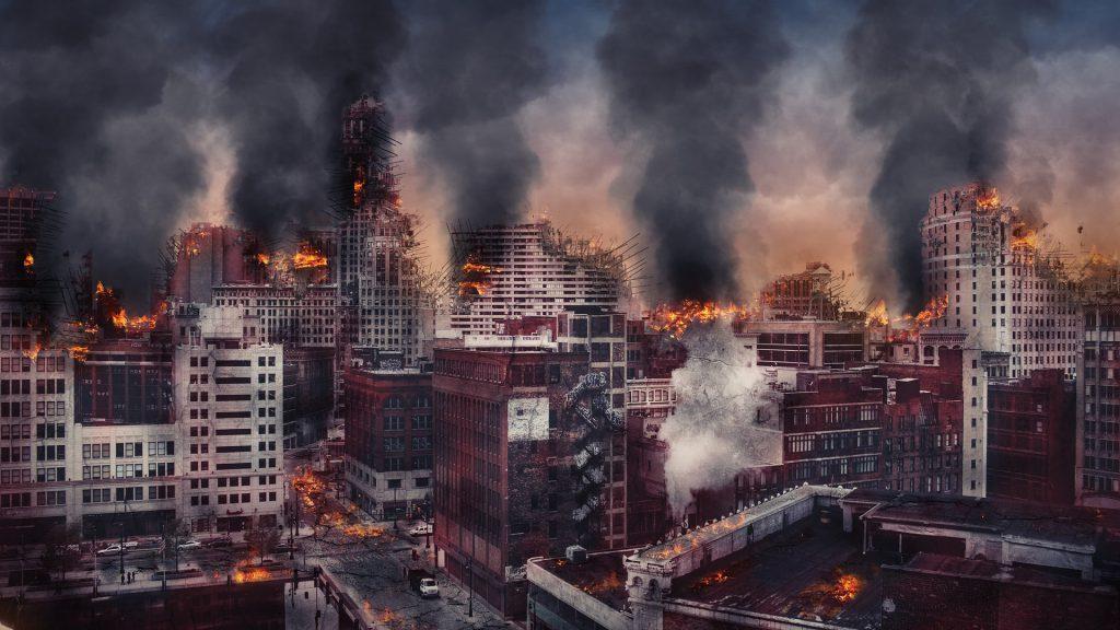 burning cityscape