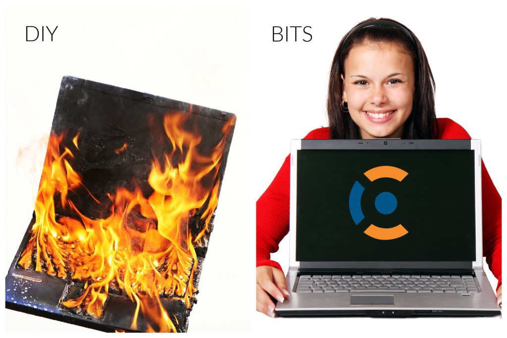 flaming computer vs. girl smiling with working laptop